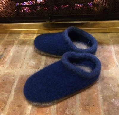 Knitted woolen slippers
